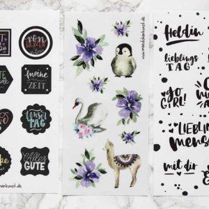 """Sticker-Set """"Aquarell"""", """"Brushlettering"""" & """"Chalkboard"""