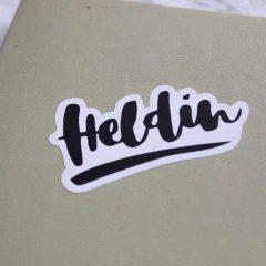 """Sticker """" Brushlettering"""" weiß"""