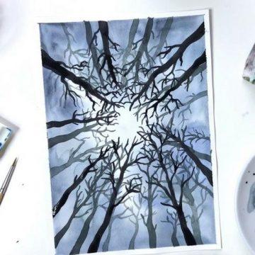 Winterwald malen lernen