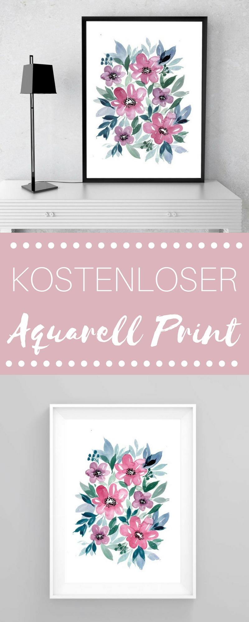 Kostenloser Blumen Aquarell Print