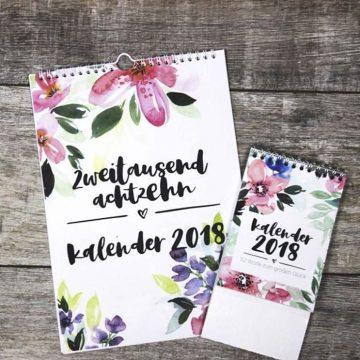 Aquarell Kalender für 2018