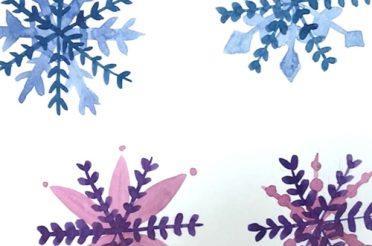 Schneeflocken malen mit Aquarell