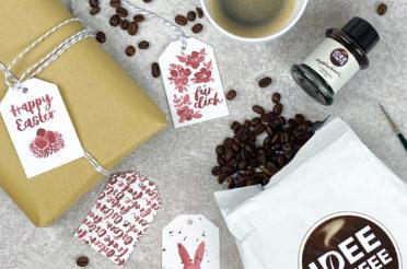 Oster-Geschenkanhänger mit IDEE TINTE Kaffeetinte von IDEE KAFFEE